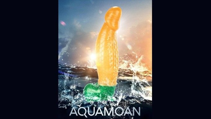 Aquamoan dildo product being shown in water.