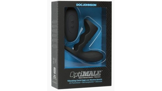 The Doc Johnson OptiMale Vibrating Cock Cage product in the packaging.