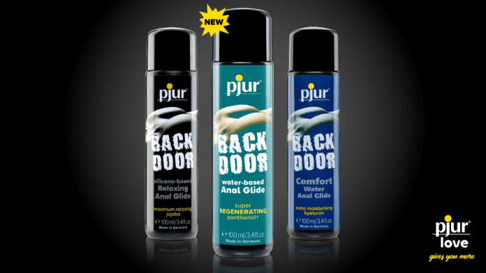 pjur's advertisement for the new BACK DOOR range anal glide personal lubricants.