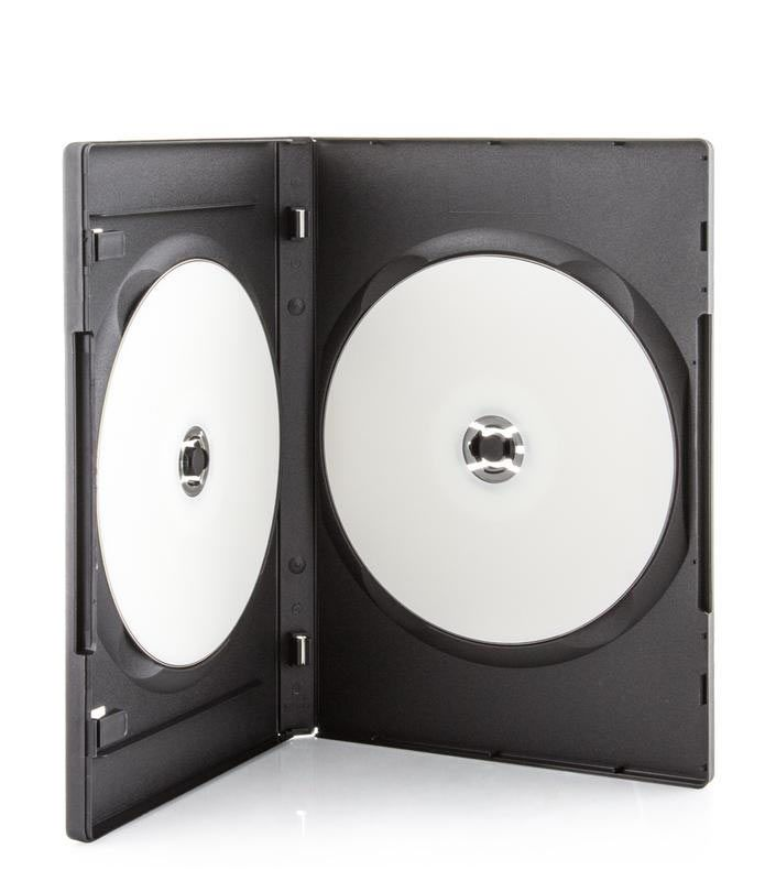 Open DVD case showing two white discs inside.