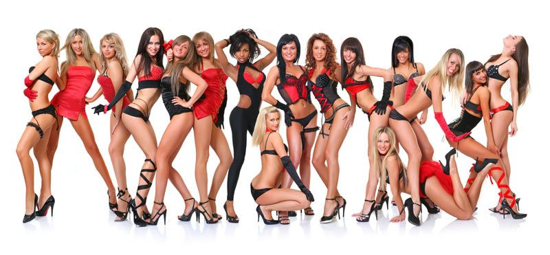 Sixteen women wearing all different types of lingerie.