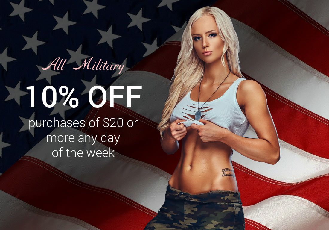 Boulevard Books military discount graphic. All Military 10% OFF purchases of $20 or more any day of the week.